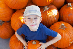 Boy at pumpkin patch Royalty Free Stock Photography