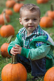 Boy with pumpkin. Portrait of a Little boy holding a pumpkin in a pumpkin field Stock Photography