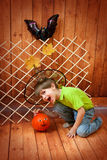 The boy with pumpkin Stock Photos