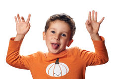Boy with pumpkin on raglan is acting the ape Royalty Free Stock Photos