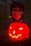 Boy with pumpkin Stock Photo