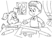Boy and pup draw. Black-and-white illustration (coloring page): small boy and his pup draw a picture with pencils Royalty Free Stock Photo