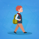 Boy Pupil Walking To School Schoolboy Small Primary Student Royalty Free Stock Photo