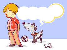 Boy and puppy. With dialog balloon, illustration Stock Image