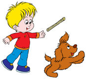 Boy and Puppy stock illustration