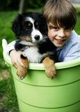 Boy with Puppy. Smiling little boy sitting with a cute puppy in a huge green plastic bucket stock photography