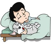 Boy with Puppy Dog Sleeping. Cartoon Illustration, Vector stock illustration