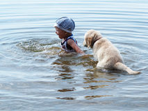 The boy and puppy playing in the river Stock Photography