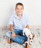 Boy with puppy Royalty Free Stock Images