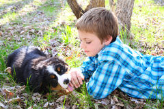 Boy and puppy Royalty Free Stock Photography