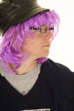 Boy purple hair glasses jersey Stock Photo