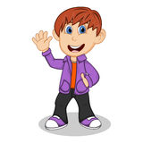 Boy with purple jacket and black trousers waving his hand cartoon Stock Photo