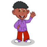 Boy with purple jacket and red trousers waving his hand cartoon Royalty Free Stock Photos