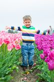 Boy in the purple tulips field Royalty Free Stock Photography