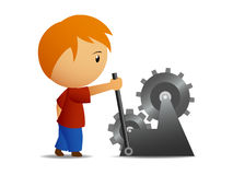 Boy push the lever of gear. Vector illustration of boy in red shirt who push lever of gear Royalty Free Stock Image