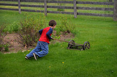 Boy Push Mower Stock Image
