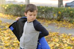 Boy puts on a blue jacket walking in the autumn park Royalty Free Stock Photography