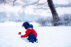 Boy puts the magic coniferous branch into the snow. Adorable boy having fun with snow on winter day stock images