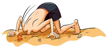 A boy putting his face in the sand. On a white background Royalty Free Stock Image