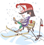 Boy putting on skis Royalty Free Stock Photo