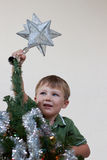 Boy putting star on christmas tree Royalty Free Stock Photos