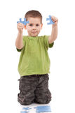 Boy with puzzles Royalty Free Stock Photo