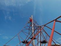 Boy on pyramid net climber Royalty Free Stock Photography