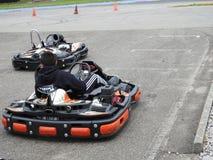 Boy racing in kart Royalty Free Stock Photo