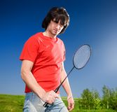 Boy with racket Stock Image