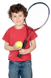 Boy with racket. Young boy with tennis racket and ball Royalty Free Stock Photos