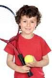 Boy with racket. Young boy with tennis racket and ball Stock Image