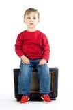 Boy on radio  Stock Photos