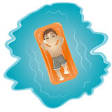 Boy on Raft in Swimming Pool Stock Photos