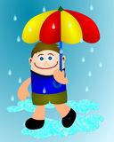 Boy in rain Royalty Free Stock Photography