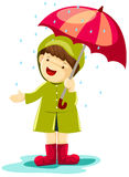 Boy in rain. Illustration of isolated boy in rain with umbrella on white stock illustration