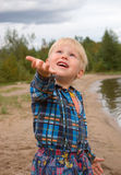 Boy and rain Royalty Free Stock Images