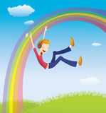 Boy on the rainbow Royalty Free Stock Photos