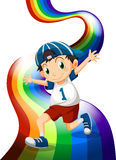 A boy and a rainbow Royalty Free Stock Image
