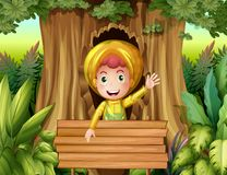 Boy with raincoat in the woods. Illustration Royalty Free Stock Image