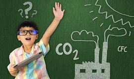 Boy raise hand for global warming Stock Photography