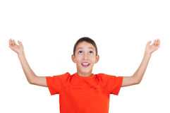 Boy with raised hands royalty free stock images
