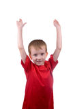 Boy raised his hands Royalty Free Stock Photos
