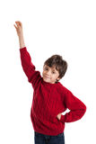 Boy raising hand isolated on white Stock Photo
