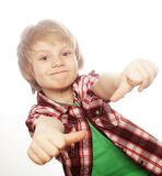 boy raising hand and showing sign of okay Stock Photos