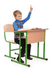 Boy raising hand to ask question Royalty Free Stock Images