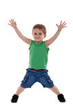Boy raising his arms Stock Photography