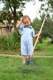 Boy raking in the garden Stock Photo
