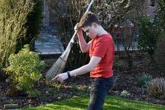 Boy raking up grass Stock Photos