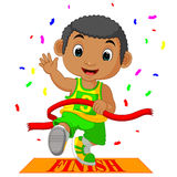 Boy ran to the finish line first Royalty Free Stock Images