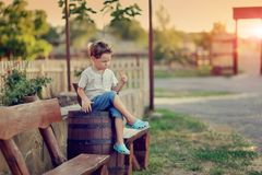 The boy on the ranch Stock Images